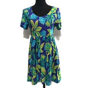 Cole of California Floral Scoop Dress Blue Green